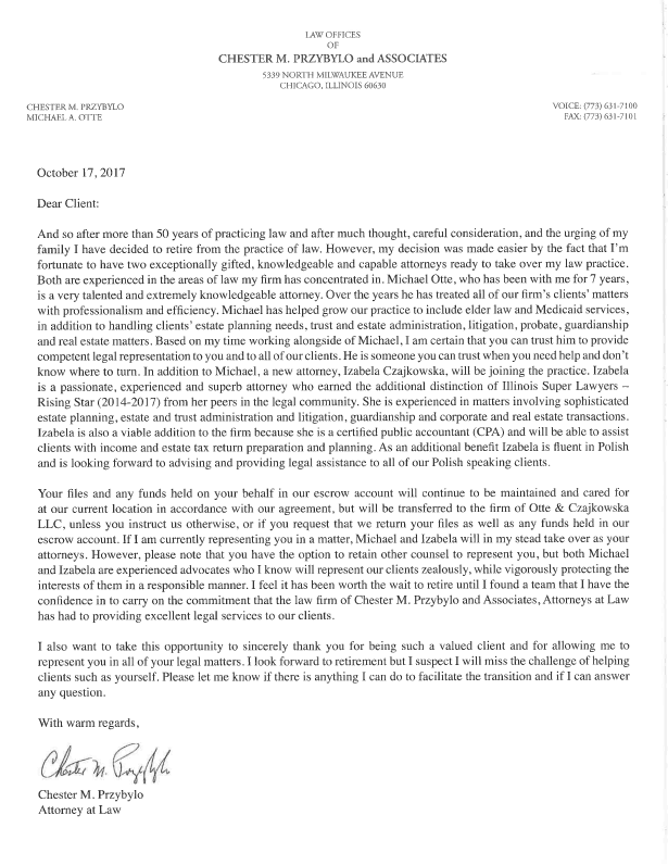 Chester M. Przybylo Letter